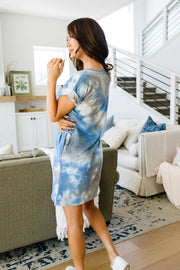 Tie Dyed Comfort T-Shirt Dress In Blue - Simply Sass Boutique