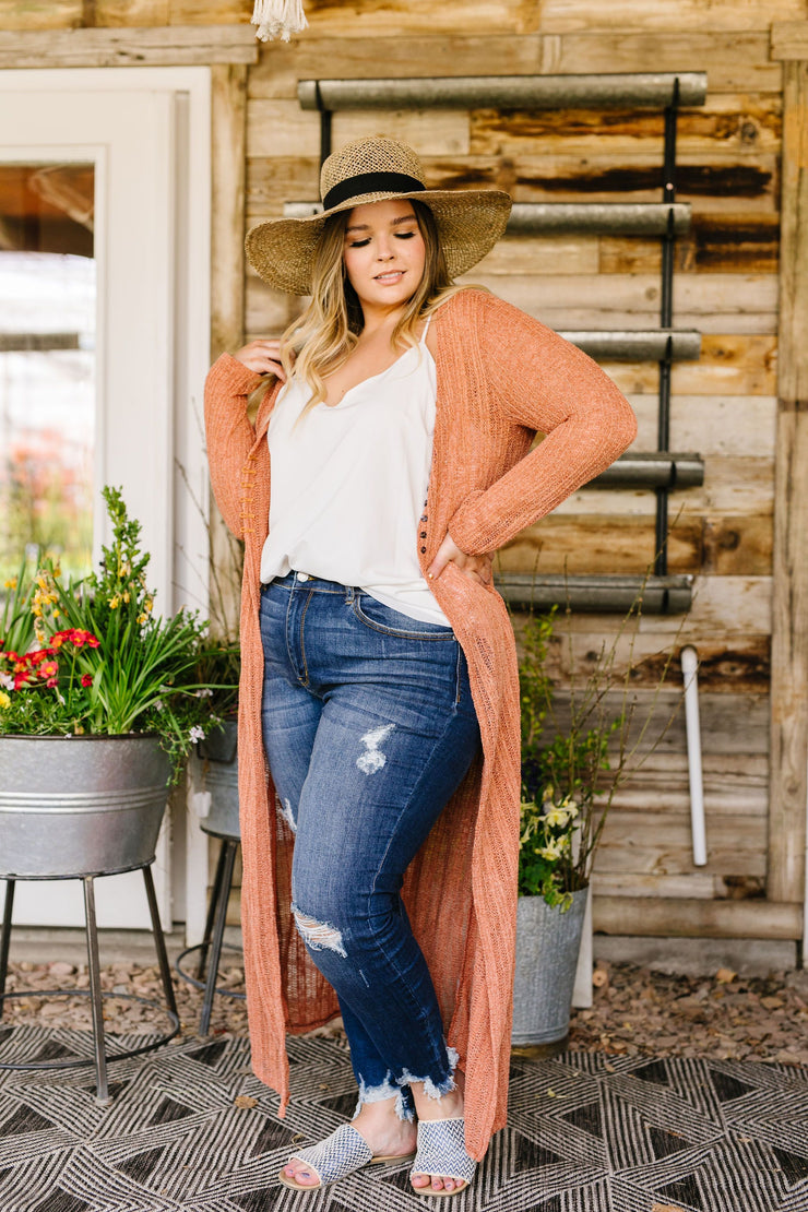 Copper Sweater Maxi Cardi - Women's Clothing AfterPay Sezzle KanCan Judy Blue Simply Sass Boutique
