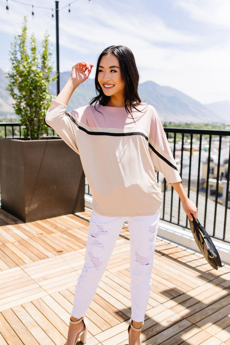 Coraline Colorblock Top in Mauve - Simply Sass Boutique
