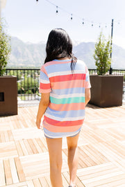 Core Concepts Coral Stripe Top - Women's Clothing AfterPay Sezzle KanCan Judy Blue Simply Sass Boutique