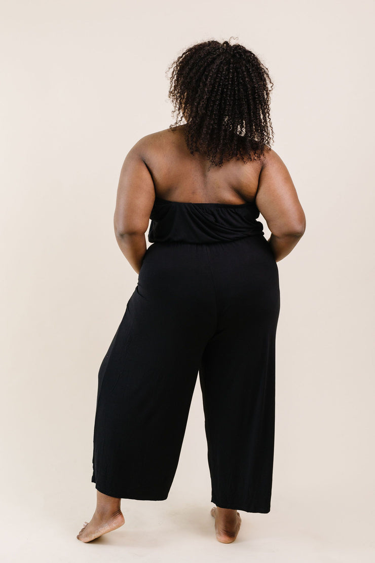 Cropped Tube Top Jumpsuit In Black - Women's Clothing AfterPay Sezzle KanCan Judy Blue Simply Sass Boutique
