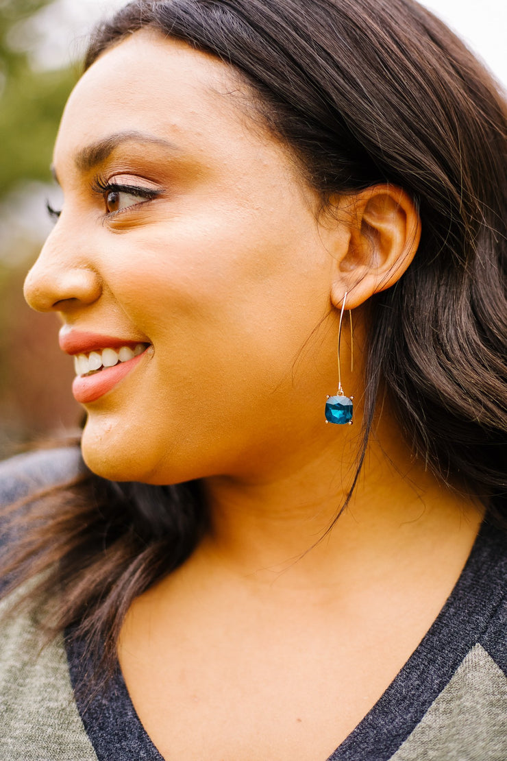 Crystal Drop Earrings In Sapphire - Women's Clothing AfterPay Sezzle KanCan Judy Blue Simply Sass Boutique