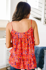 Ditzy Floral Tank In Coral - Simply Sass Boutique