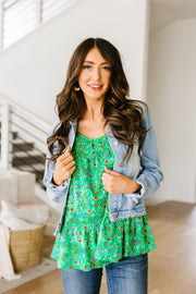 Ditzy Floral Tank In Green - Women's Clothing AfterPay Sezzle KanCan Judy Blue Simply Sass Boutique