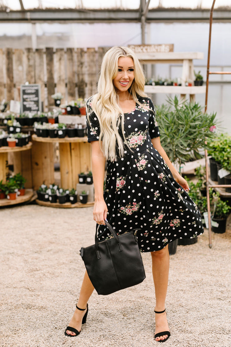 Dots & Roses Dress In Black - Simply Sass Boutique