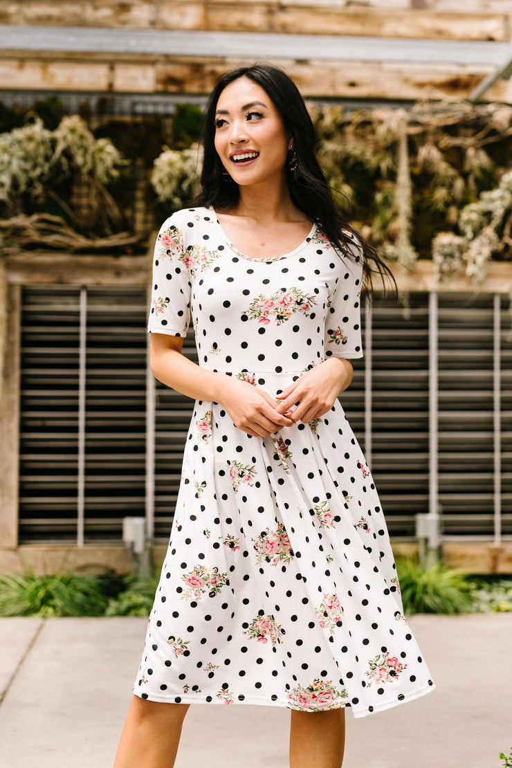 Dots & Roses Dress In Ivory - Women's Clothing AfterPay Sezzle KanCan Judy Blue Simply Sass Boutique