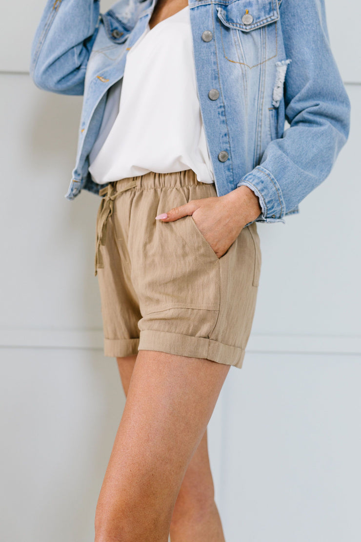 Drawstring Daydream Shorts In Sand - Women's Clothing AfterPay Sezzle KanCan Judy Blue Simply Sass Boutique