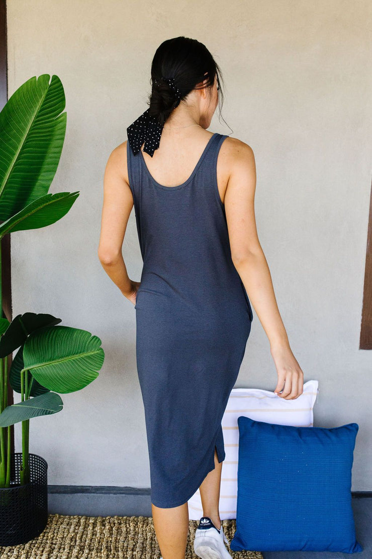 Easy Living Tank Dress In Charcoal - Women's Clothing AfterPay Sezzle KanCan Judy Blue Simply Sass Boutique