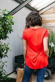 Everyday Yay V-Neck Tee In Red Orange - Simply Sass Boutique