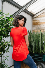 Everyday Yay V-Neck Tee In Red Orange - Women's Clothing AfterPay Sezzle KanCan Judy Blue Simply Sass Boutique