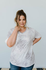 Fading Away Leopard V-Neck In Gray - Women's Clothing AfterPay Sezzle KanCan Judy Blue Simply Sass Boutique
