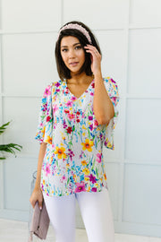 Falling Flowers Blouse - Women's Clothing AfterPay Sezzle KanCan Judy Blue Simply Sass Boutique