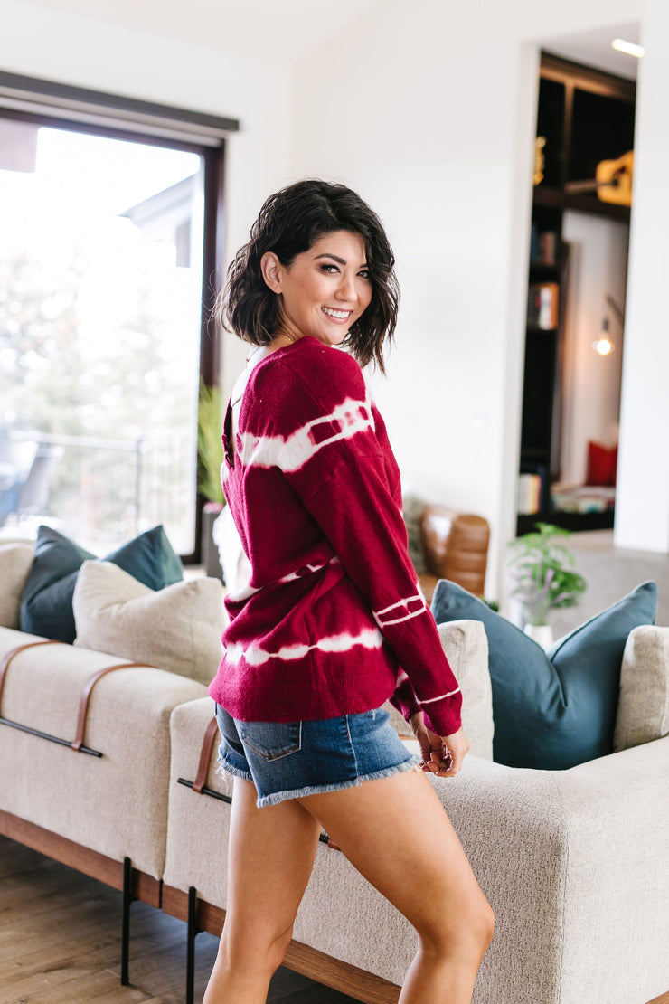 Fit To Be Tie Dyed Sweater In Berry - In House - Women's Clothing AfterPay Sezzle KanCan Judy Blue Simply Sass Boutique