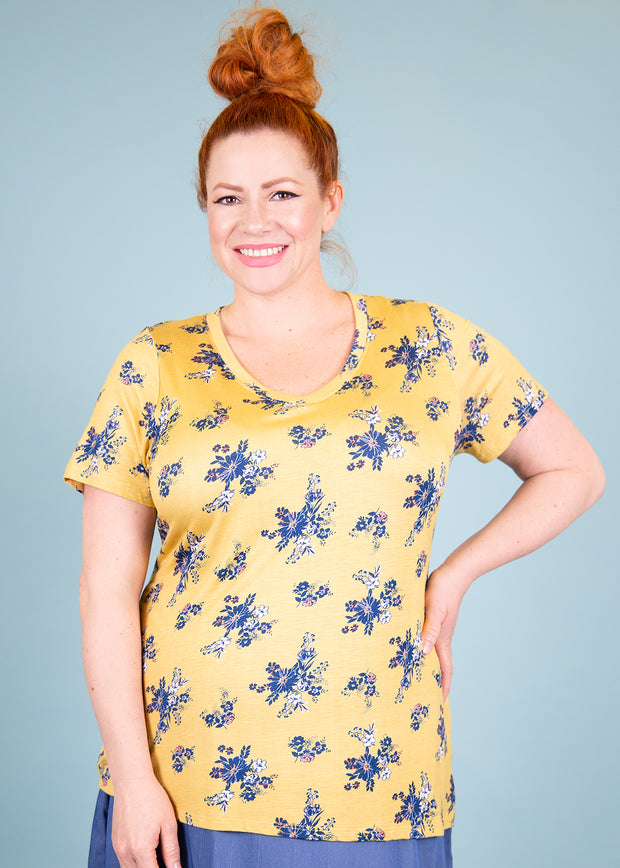 Fitted V Neck Tee - Ochre Floral - Women's Clothing AfterPay Sezzle KanCan Judy Blue Simply Sass Boutique