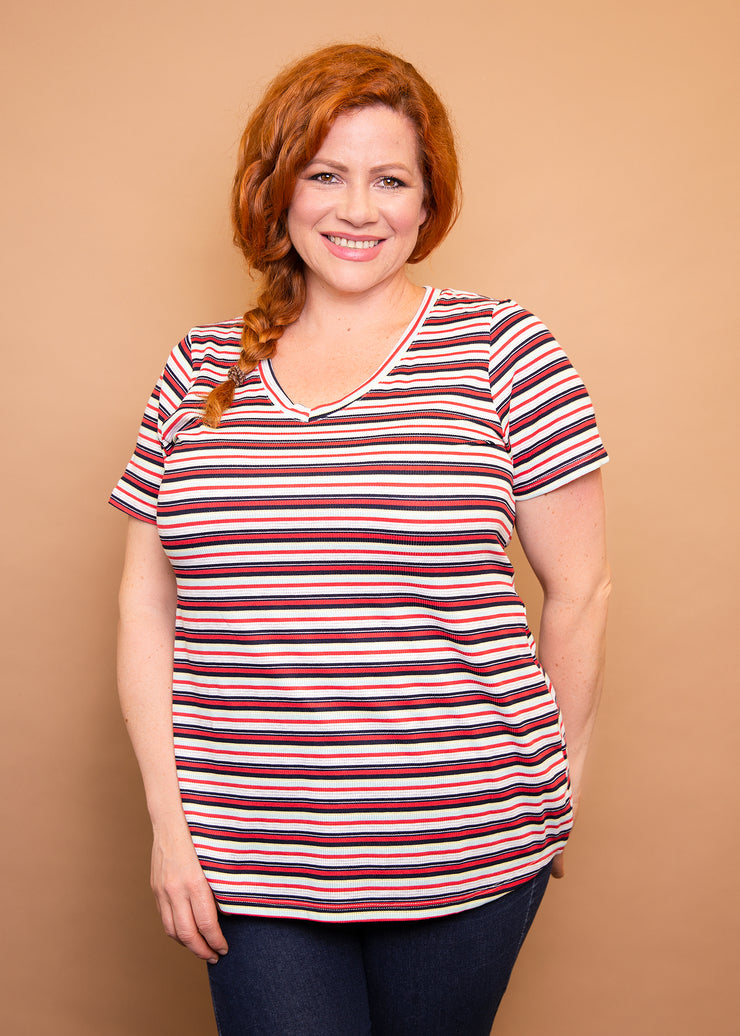 Fitted V Neck Tee - Stripe - Women's Clothing AfterPay Sezzle KanCan Judy Blue Simply Sass Boutique
