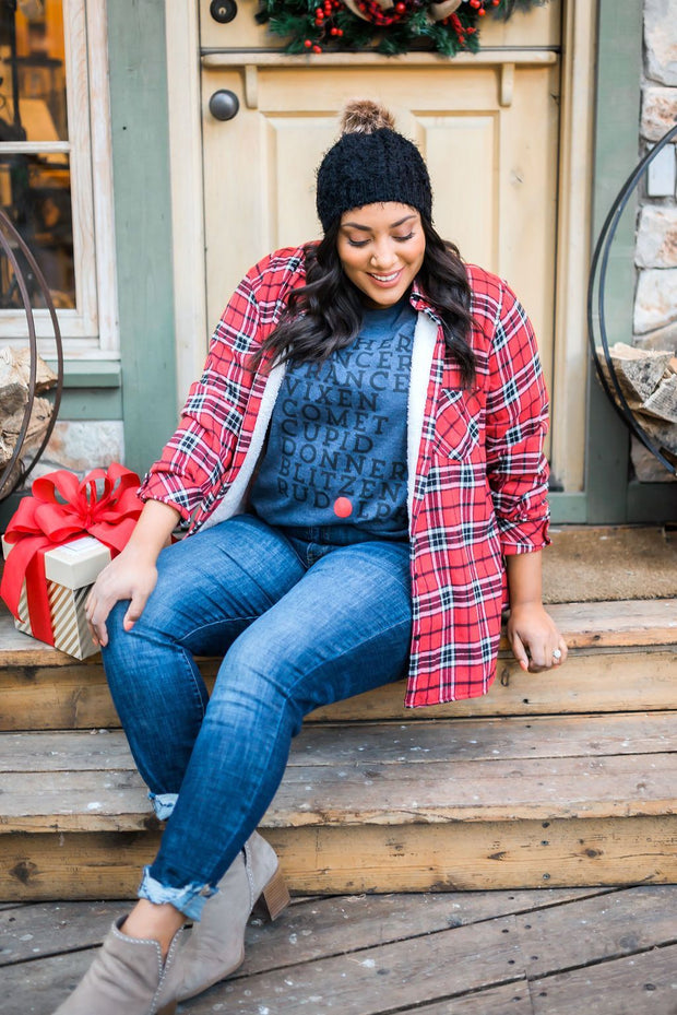 Fleece-Lined Flannel Button-Down In Cherry - In House - Women's Clothing AfterPay Sezzle KanCan Judy Blue Simply Sass Boutique