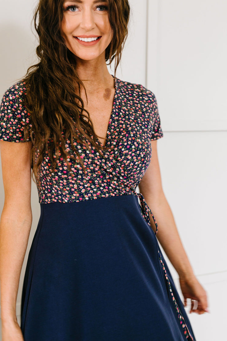 Flowers At Midnight Midi Dress - In House - Women's Clothing AfterPay Sezzle KanCan Judy Blue Simply Sass Boutique