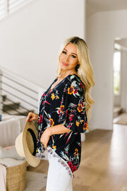 Flowers & Fringe Blouse - Women's Clothing AfterPay Sezzle KanCan Judy Blue Simply Sass Boutique