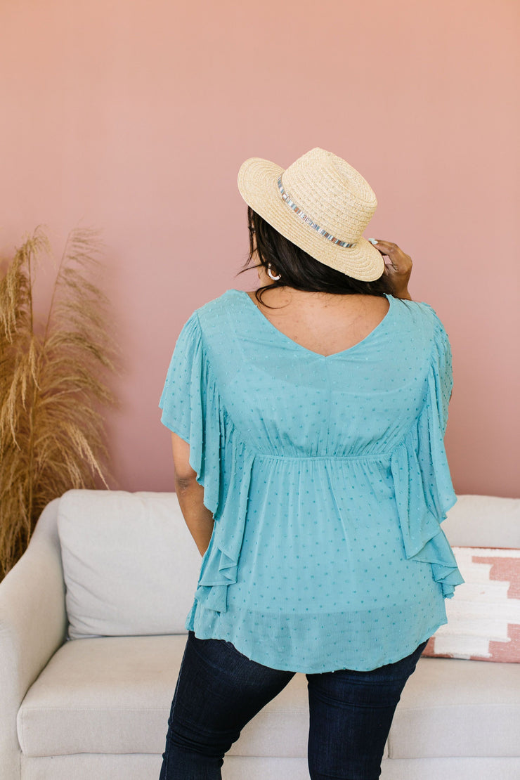 Fly Away Home Blouse In Dusty Teal - Women's Clothing AfterPay Sezzle KanCan Judy Blue Simply Sass Boutique