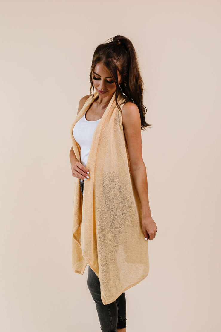 Gauzy Bohemian Cardi Vest In Gold - Women's Clothing AfterPay Sezzle KanCan Judy Blue Simply Sass Boutique