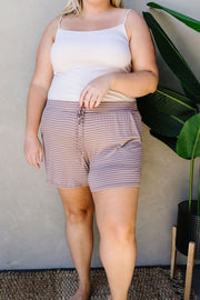 Give Me A Mocha Striped Shorts - Women's Clothing AfterPay Sezzle KanCan Judy Blue Simply Sass Boutique