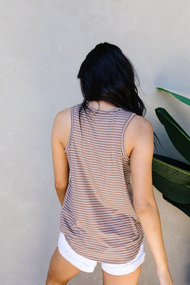 Give Me A Mocha Striped Tank - Women's Clothing AfterPay Sezzle KanCan Judy Blue Simply Sass Boutique