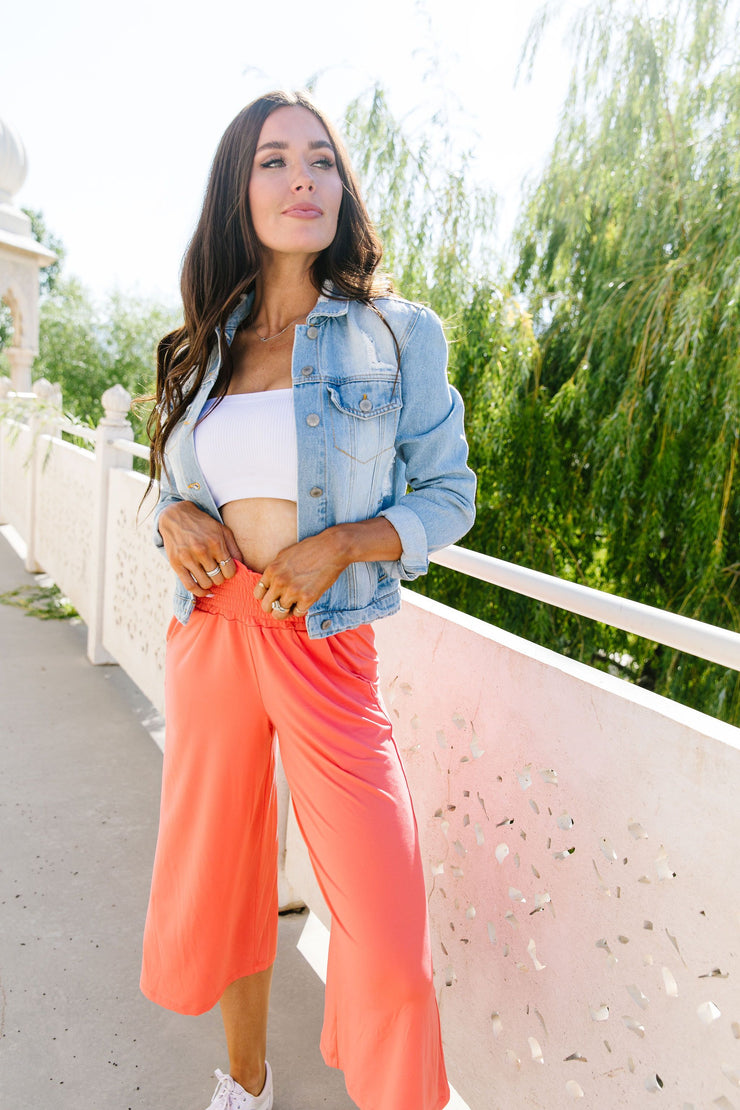 Go Get 'Em Gaucho Pants In Coral - Women's Clothing AfterPay Sezzle KanCan Judy Blue Simply Sass Boutique