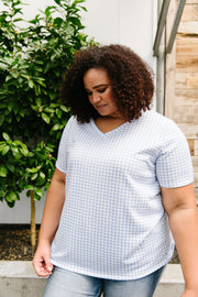 Good Girl Gingham V-neck In Baby Blue - Simply Sass Boutique
