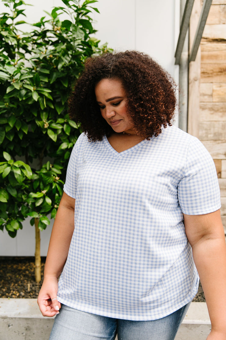 Good Girl Gingham V-neck In Baby Blue - Women's Clothing AfterPay Sezzle KanCan Judy Blue Simply Sass Boutique