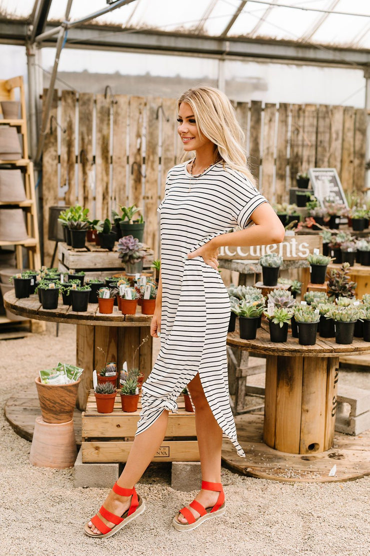 Ivory Stripes No Gripes Dress - Women's Clothing AfterPay Sezzle KanCan Judy Blue Simply Sass Boutique
