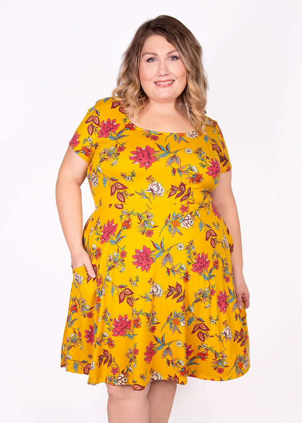 Daffodil Dress - Mustard Floral - Women's Clothing AfterPay Sezzle KanCan Judy Blue Simply Sass Boutique