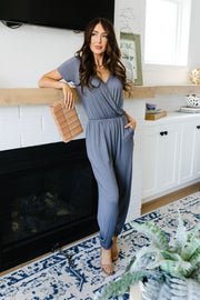 Jumping Jacks Jumpsuit In Slate - Women's Clothing AfterPay Sezzle KanCan Judy Blue Simply Sass Boutique