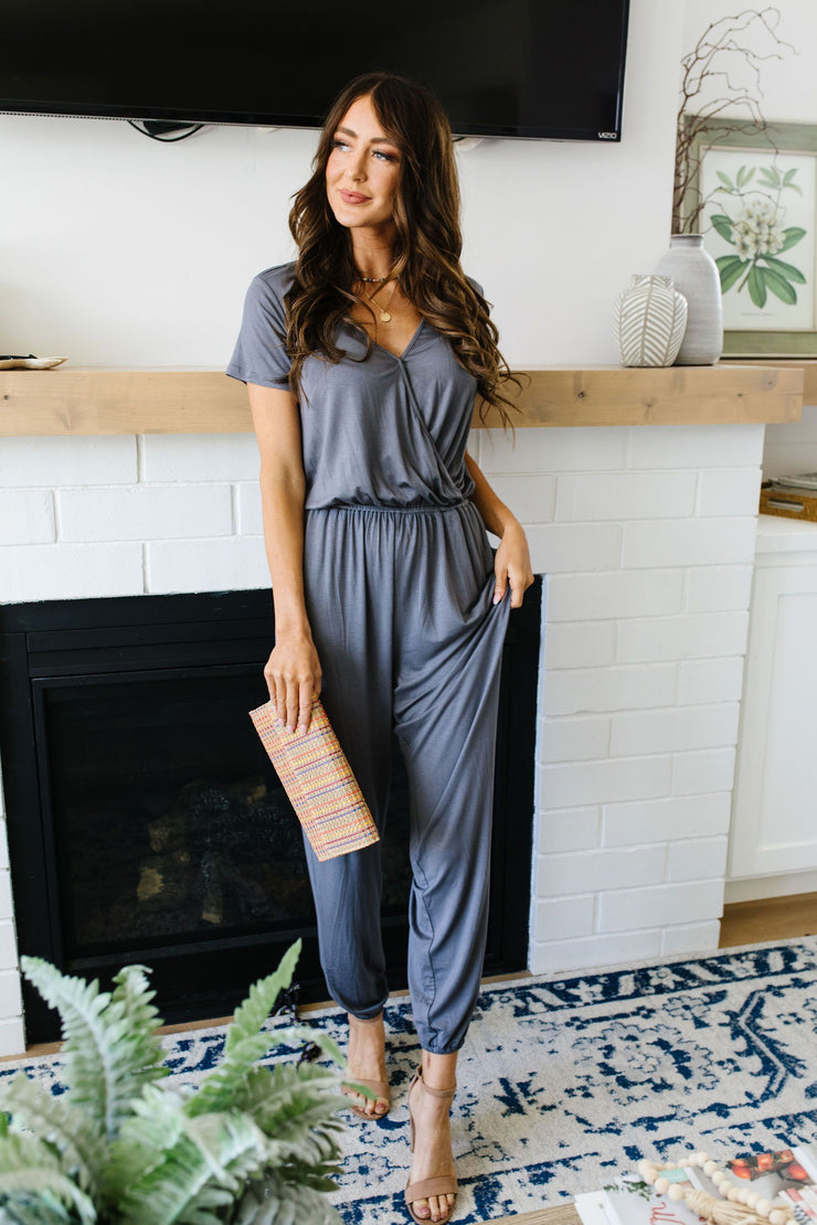 Jumping Jacks Jumpsuit In Slate - Simply Sass Boutique
