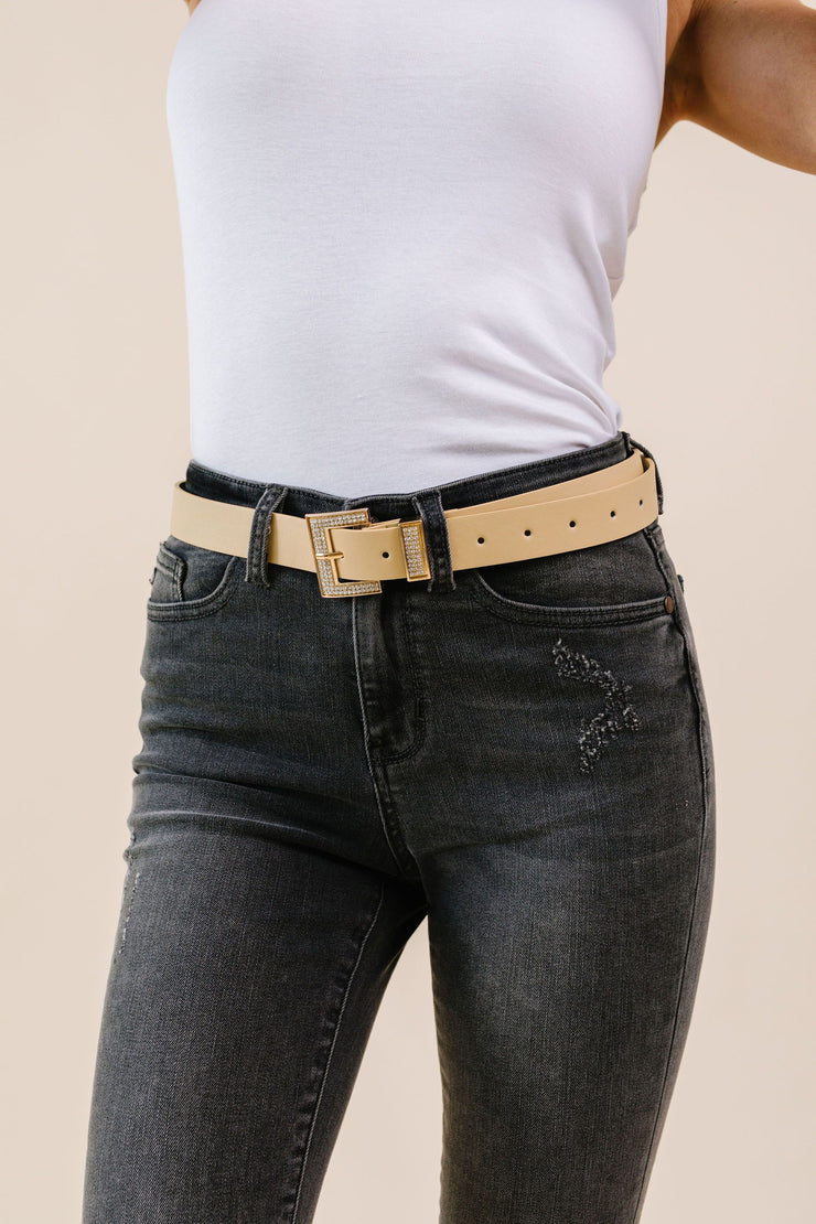Just A Little Bling Belt In Natural - Women's Clothing AfterPay Sezzle KanCan Judy Blue Simply Sass Boutique