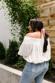 Just Add Sun Off Shoulder Top In White - Women's Clothing AfterPay Sezzle KanCan Judy Blue Simply Sass Boutique