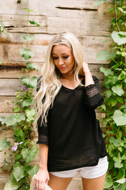 Just In Case Lace Trimmed Blouse In Black - Women's Clothing AfterPay Sezzle KanCan Judy Blue Simply Sass Boutique