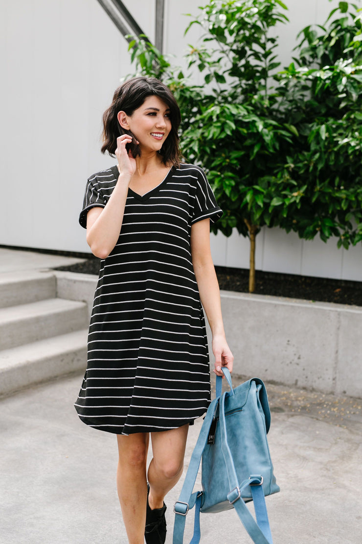 Just Skating By Striped T-Shirt Dress - Women's Clothing AfterPay Sezzle KanCan Judy Blue Simply Sass Boutique