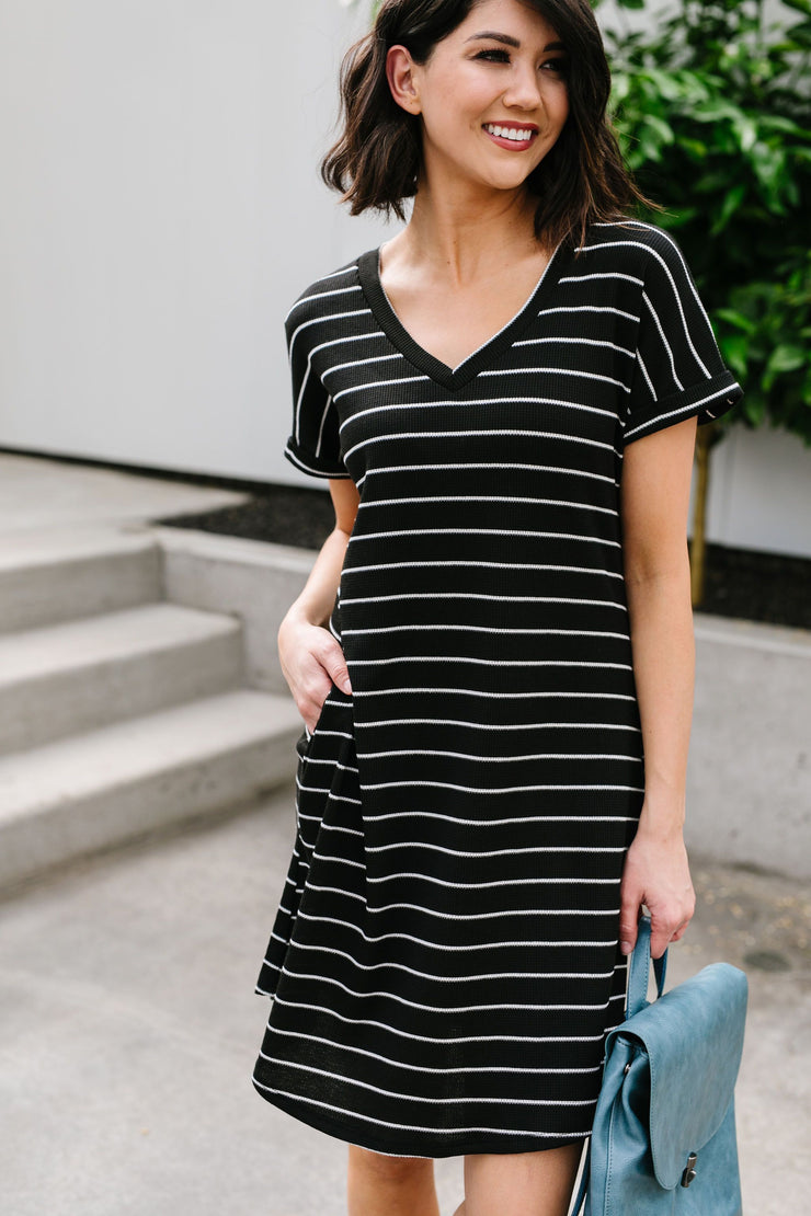 Just Skating By Striped T-Shirt Dress - Simply Sass Boutique