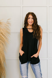 Keyhole & Pockets Tank In Black - Women's Clothing AfterPay Sezzle KanCan Judy Blue Simply Sass Boutique