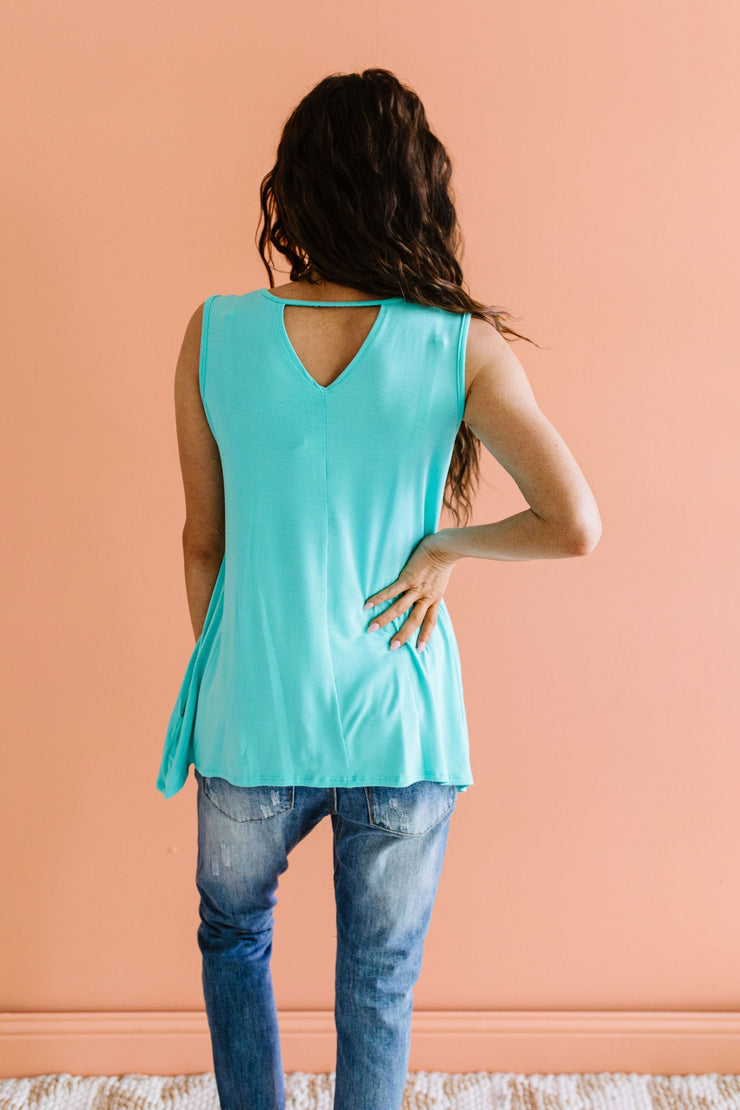 Keyhole & Pockets Tank In Mint - Women's Clothing AfterPay Sezzle KanCan Judy Blue Simply Sass Boutique