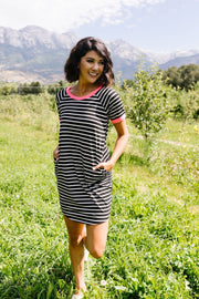 Later Skater T-shirt Dress With Hot Pink Trim - Women's Clothing AfterPay Sezzle KanCan Judy Blue Simply Sass Boutique