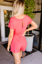 Laurel Coral Romper - Women's Clothing AfterPay Sezzle KanCan Judy Blue Simply Sass Boutique