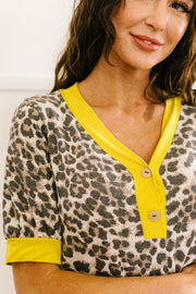Lemon Leopard Top - Women's Clothing AfterPay Sezzle KanCan Judy Blue Simply Sass Boutique