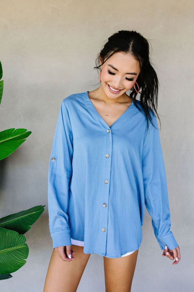 Light Denim Button-Down - Women's Clothing AfterPay Sezzle KanCan Judy Blue Simply Sass Boutique