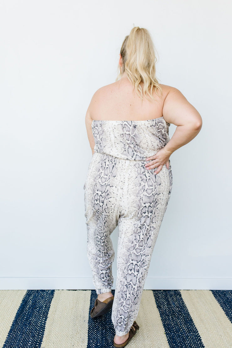 Long & Lean Snakeskin Jumpsuit - Women's Clothing AfterPay Sezzle KanCan Judy Blue Simply Sass Boutique