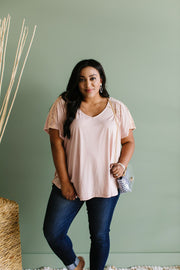 Love The Lace Top In Blush - Women's Clothing AfterPay Sezzle KanCan Judy Blue Simply Sass Boutique
