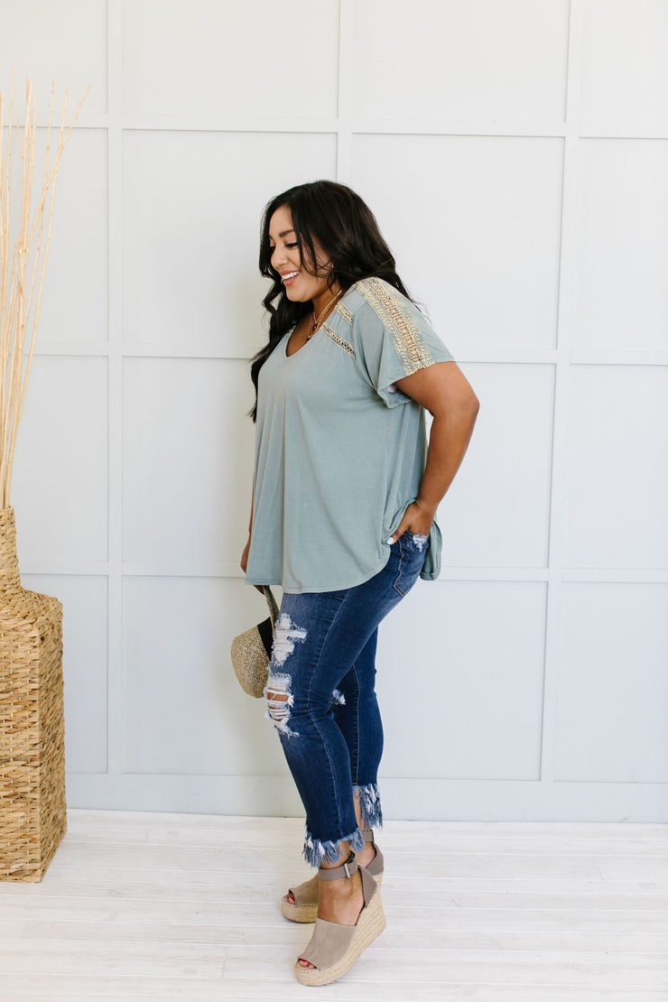 Love The Lace Top In Sage - Women's Clothing AfterPay Sezzle KanCan Judy Blue Simply Sass Boutique