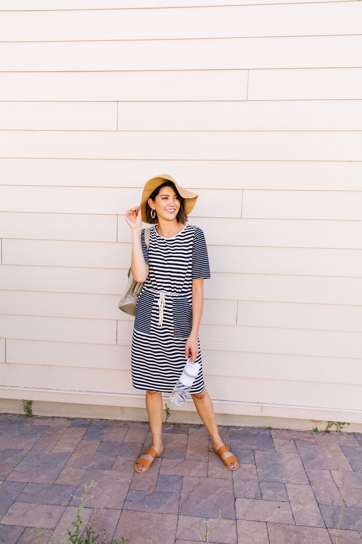 Madeline Striped T-Shirt Dress - Women's Clothing AfterPay Sezzle KanCan Judy Blue Simply Sass Boutique