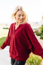 Magnificent V-Neck Top In Wine - Women's Clothing AfterPay Sezzle KanCan Judy Blue Simply Sass Boutique