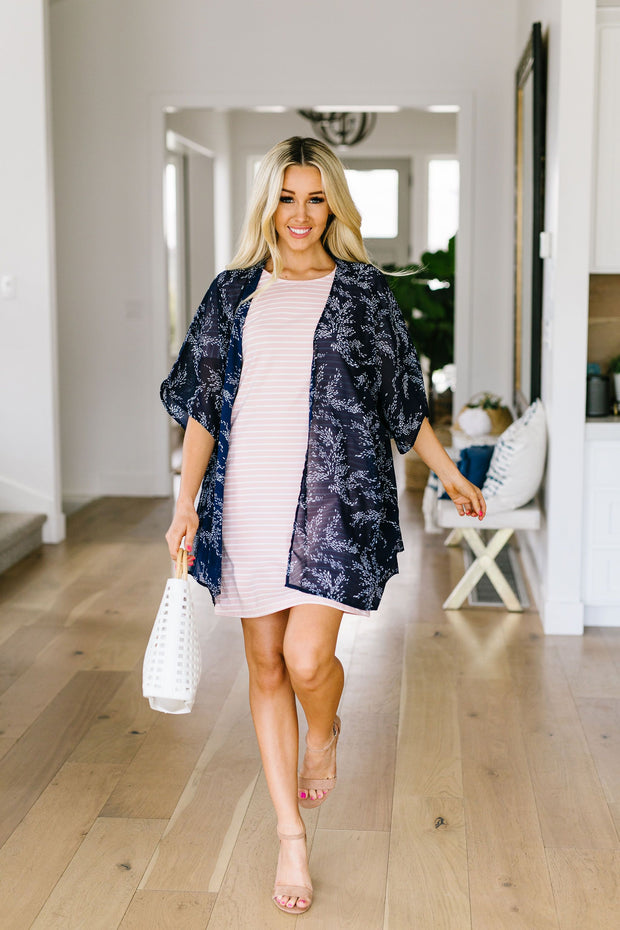 Mini Mosaic Kimono In Navy - Women's Clothing AfterPay Sezzle KanCan Judy Blue Simply Sass Boutique